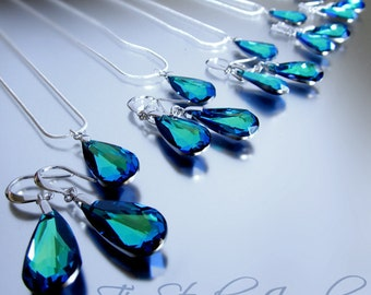 Peacock Bermuda Blue Bridesmaid Necklace and Earring Wedding Bridal Set Crystal Teardrop - AURORA