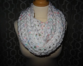 chunky scarf / snood / infinity scarf hand crafted crochet white with specks