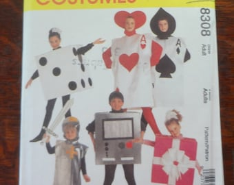 UNCUT McCALL'S COSTUMES 8308 Size Adult Quick & Easy