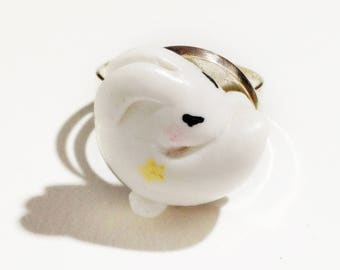 Small Sleepy Bunny on silver plated adjustable ring