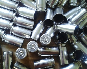 Set of 10 Bullet Casings! .40 Caliber, Silver Tone, Polished and Shiny. Empty Spent Ammo Cartridge Shells
