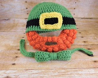 St Patricks Day Hat with Beard - Crochet Leprechaun Hat - Beard Hat - Baby Beard Hat - March Baby - St Patricks Day Photo Prop - Green Hat