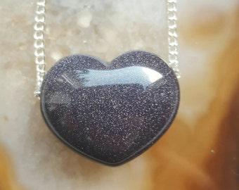Blue Goldstone Loveheart crystal  necklace / Valentines Day Gift