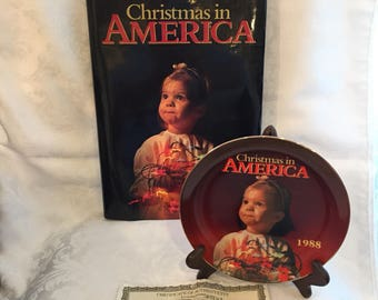 Vintage coffeetable book and collectible plate - Christmas in America, 1988.