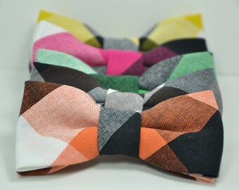 Boy's Bow Ties in Large Check Cotton