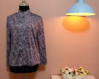 Retro Blouse, 1960 Blouse, Blouses, Elegant Blouse, Vintage Blouse, 60s Blouse, Purple Blouse, Color Elegant Vintage Blouse For Women 1960s