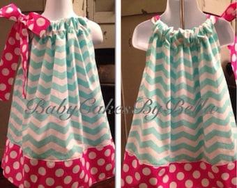 Birthday Dress Pillowcase Dress Toddler Outfit Chevron Polka Dots Hot Pink Aqua Gift Custom Spring Summer