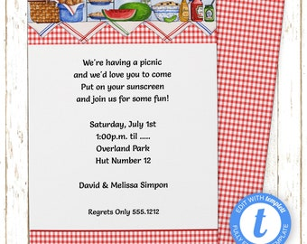 Picnic Table Invitation | Picnic/BBQ | Printable Editable Digital File | Instant Download | Templett | PNI100DIY