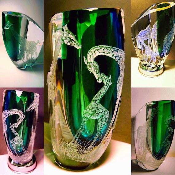 Seduction of Light. Vase, Kosta Boda, Handengraved, Crystal, African Art, Giraffe, weddings, Bespoke