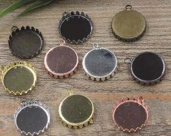 20 Brass Pendant Trays 15mm/ 20mm/ 25mm Round Bezel W/ Closed Ring Crown Edged Bronze/ Silver/ Gold/ Rose Gold/ White Gold/ Gun-Metal