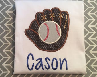 Boys Baseball shirt, boys glove and ball shirt, boys baseball glove and ball applique name shirt, personalized baseball shirt