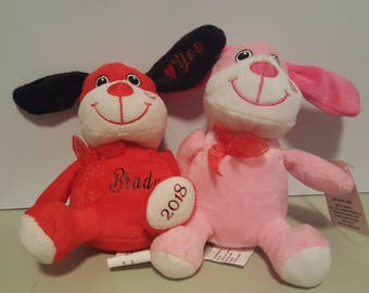 Plush Personalized puppies and bears for Valentine's Day.