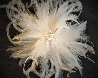 Ivory & White handmade in the USA Bridal Wedding Fascinator Feather Hair Clip Ostrich