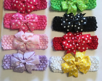 Polka dot hair bow with crochet headband New  Head Band 1.5""