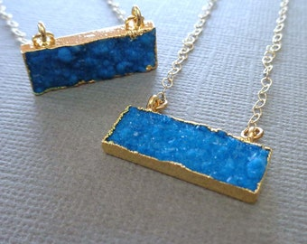 Tiny Blue Druzy Bar Necklace / light Blue Drusy Rectangle / Minimal Jewelry / Blue Stone Crystal Necklace / Gold Blue Necklace //GD36