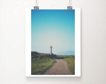 celtic cross photograph anglesey photograph religious photograph landscape photograph wales photograph travel photograph wanderlust art