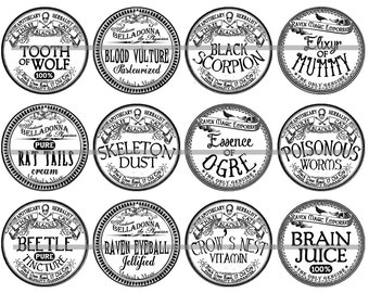 Apothecary Label Magnets Vintage Potion Poison Magnet or Pin Gift Sets Fridge Magnets Party Favors