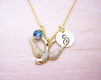 Soaring Bird Necklace - Gold Initial Necklace - Birthstone Necklace - Gold Initial Necklace - Personalized Necklace - Bird Charm