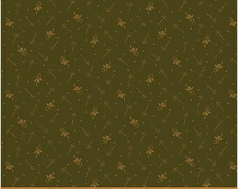 Windham Kindred Spirits 2 Green with Gold Accents Civil War Reproduction  40208A Fabric BTY