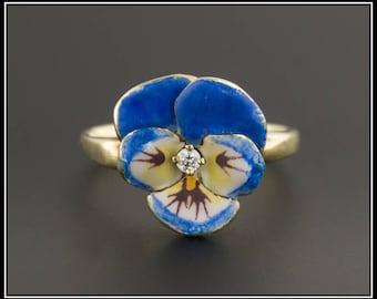 14k Gold Enamel Pansy Ring by Larter & Sons | Vintage Diamond Pansy Ring | Blue Pansy Ring | 14k Gold Ring | Enamel Flower Ring