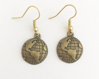 Handmade Earth World Planet Gold Bronze Coated Dangle Earrings