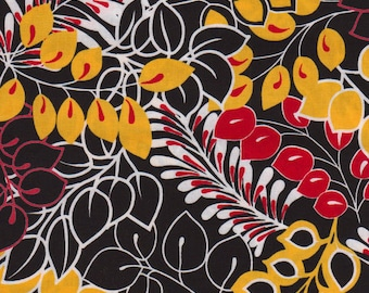 1 yd. vera's garden, leaves - licorice/red/yellow
