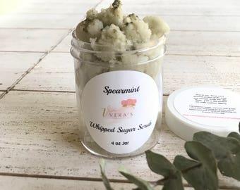 Spearmint Whipped Sugar Scrub,  Body Scrub, Spa Gift, Gift for Dry Skin,