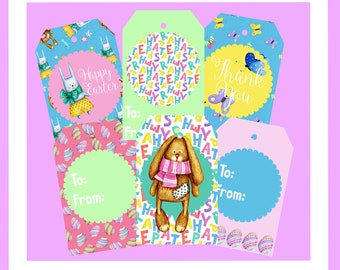 Easter Tags, Printable Easter Tags, Bunny Tags, Easter Party Tags, 6 Tags, Easter Egg Tags, Spring Tags, Thanks You Tag, Butterfly Tag
