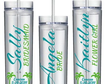 Beach Bridal Party Tumblers - Bridesmaid Gift, Maid of Honor, Bridal Party, Destination Wedding, Personalized Skinny Tumblers