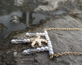 Pearl starfish necklace with crystal