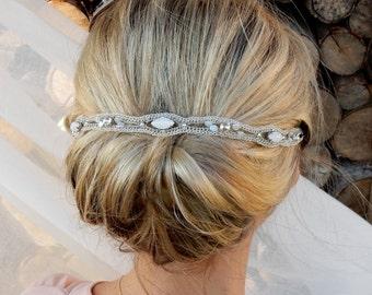 Wedding headpiece, opal rhinestone  bridal  hair accessories, unique crocheted headband, bridal hair, wedding hair accessory, classic bridal