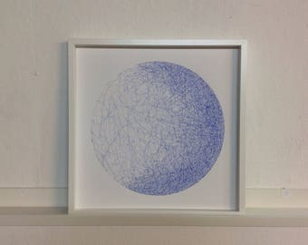 Original square Planet Pen and Ink Drawing//Blue Drawing// Original Art// Astronomy Art// Planets// Moon// Framed Art