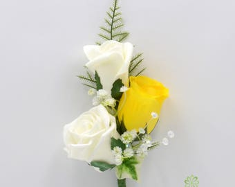 Artificial Wedding Flowers, Yellow & Ivory Triple Rose Gents Buttonhole / Ladies Corsage