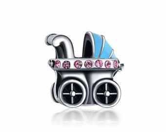 Silver Baby Carriage Charm - Silver Baby Charm - New Baby Charm - Mother Gift Charm - Newborn Charm - Fits all Charm Bracelets