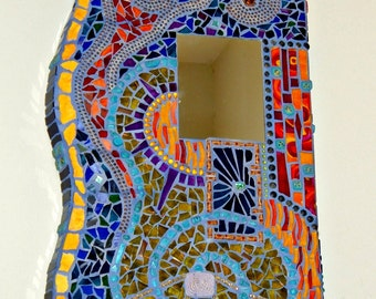 Wall Hanging, One of a Kind, Whimsical Mosaic Art Mirror