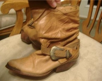 Vintage 80's western slouch leather boots buckle and stud adornements
