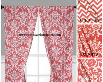Coral Curtain Panels Modern Chevron Damask Coral Drapery Window Treatments Set Pair