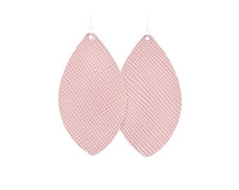 Pink Quartz leather earrings