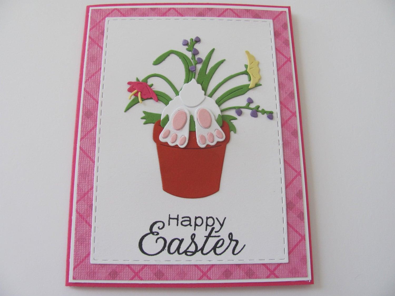 Easter Bunny Flower Pot Card, Happy Easter Bunny Card, Spring Cards, Bunny Cards, Happy Easter Cards, Easter Cards, Spring Celebration Card