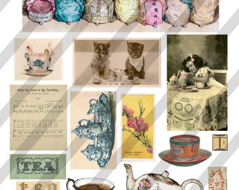 Digital Collage Sheet  Tea Time Images (Sheet no. O82) Instant Download