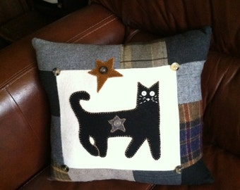 Black cat pillow wool upcycled primitive patchwork
