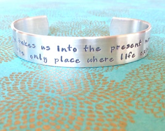 Yoga bracelet - Yoga takes us into the present moment, the only place where life exists - Custom Hand Stamped Bracelet by MadeByMishka.com