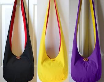 MADE TO ORDER Hobo Bag Boho Bag Crossbody Bag Sling Bag Solid Color Hippie Purse Hobo Purse Hippie Bag Handmade Purse Fabric Purse Hobo Bag