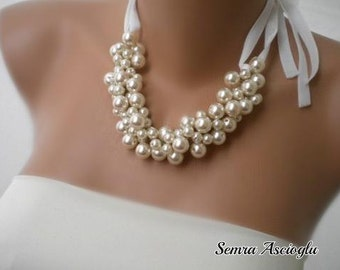 Pearl ribbon necklace. Handmade Weddings Pearl Necklace Brides Bridesmaids gifts