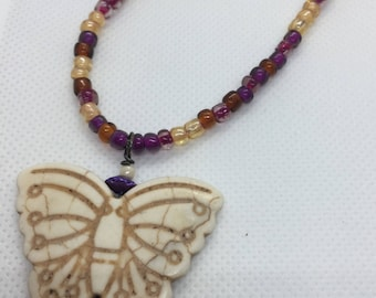 Butterfly Necklace, Carved Bone Butterfly, Pendant, Purple, Fuscia, Gold, Adjustable Length