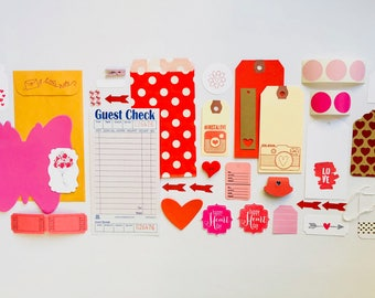 Red and Pink Embellishment Kit, Tags, Polka Dots, Heart Button, Arrows, Mason Jar, Planner Supplies, Ephemera, Paper Clips, Camera, Hearts