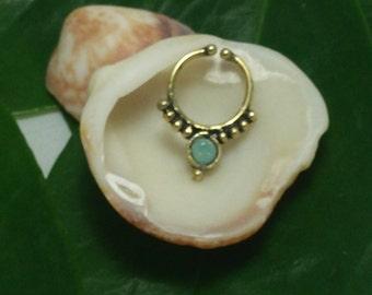 Fake septum, brass septum, fake septum with pacific opal