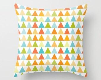 Triangle Pillow, Modern Throw pillow, contemporary pillow, pyramid pillow, shapes pillow, geometry pillow, pattern, Bold, orange, green, art
