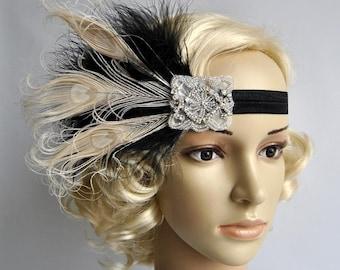 Great Gatsby headpiece Black Ivory Flapper Feather Headband 1920s Wedding rhinestone Headband, Vintage Inspired, Feather Bridal headband