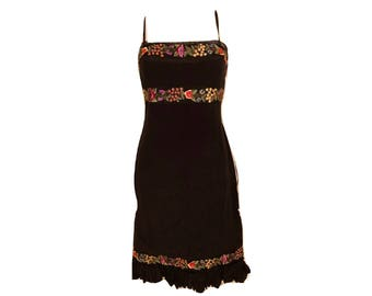 Vintage 90's Black Silk Floral Embroidered Dress, Black Silk Dress, Floral Dress